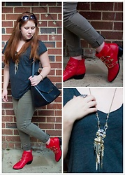 Gift of Gabby Blog - Kate Spade Black Satchel, Shoemint Red And Gold Booties, Chloe + Isabel Amulet Statement Pendant Necklace - Edgy with a Pop of Color