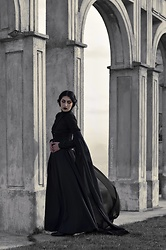 Ellone Andreea - True Corset Mesh Cincher, Diy Lace Chocker, Mango Black Veil Shirt, Second Hand Black Maxi Skirt - Winds of a dying dream