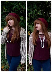 Gift of Gabby Blog - H&M Burgundy Lace Yoke Tank, Charlotte Russe Geometric Cardigan, Xhilration Burgundy Beanie, Blue Spice Skinny Jeans, Chloe + Isabel Pearl Crystal Drops Long Necklace - Knitwear & Wine