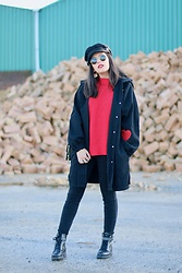 Natalia M - Asos Baker Boy Hat, Asos Red Sweater, Shein Hearts Jacket, Pull & Bear Skinny Jeans, Asos Biker Boots - RED SWEATER
