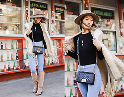 Ohn MintyFresh - Popjulia Poncho, Chanel Boy Bag, Rag & Bone Fedora, Zara Boots - Meet me at the Corner