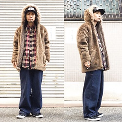 @KiD - Naughty By Nature Cap, Beams Fake Fur Hoodie, Members Only Flannel Shirts, 90s Sk8er Pants, Air Walk The One - JapaneseTrash291