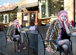 Kailey Flyte - Valfre Rose Dress, Forever 21 Leopard Print Coat, Modcloth Heart Print Tights, Asos Pompom Heels - La vie en rose
