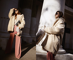 Sirma Markova - H&M Teddy Bear Coat, Asos Wild Leg Pants, H&M Mohair Sweater, H&M Pink Suede Shoes - Pomegranate Season