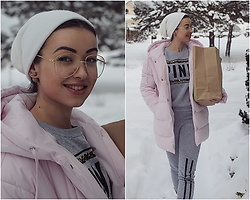 Elena Klimashevskaya - Asos Glasses, Romwe Two Piece Set, Cropp White Beanie, Mohito Pink Jacket - Homeless Chic