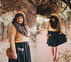 Ragini R - Asos Mustard Yellow Beret, New Look Oversized Faux Fur Collar, Brave Soul Mustard Yellow Sweater, Handmade Corduroy Skirt, Handamde Rattan Circle Bag, Strathcona Stockings Bird Print, Clarks Plaid Oxfords - Mustard yellow beret