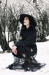 Ellone Andreea - H&M Sheer Star Dress, Dr. Martens Boots, Mango Button Down, H&M Felt Witch Hat, H&M Skinny Jeans - The Witching Hour