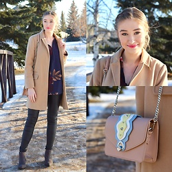 Taylor Doucette - Topshop Camel Coat, Vero Moda Coated Denim, Marc By Jacobs Pointed Toe Boots, Zara Pink Studded Crossbody Purse - Cherry Hearts - The Shins