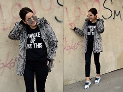 Marija M. - Rosegal Grey Faux Fur Jacket, H&M Jeggings, Adidas Stella Mccartney X - Grey faux fur jacket