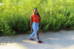 PaitenLeJae - Air Jordan & Nike Bred 1s, Distressed Jeans, Bodysuit - Flower Girl
