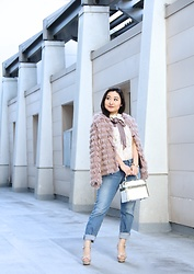 Kristen Tanabe - Tobi Fluffy Jacket, Free People High Neck Lace Top, Joe's Jeans Cropped, Steve Madden Nude Platform Heels, Vintage Purse - More Than Just a Fabulous Jacket