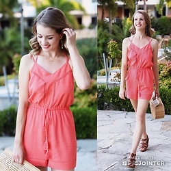 Heidi Landford - Forever New Playsuit, Kurt Geiger Sandals, Cult Gaia Bamboo Ark Bag, By Charlotte Necklaces, By Charlotte Hoop Earrings - Tangerine and Turquoise
