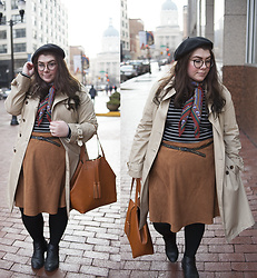 Katie - Beret, Neck Scarf, Banana Republic Trench Coat, Striped Top, Suede Skirt - RAINY SATURDAY