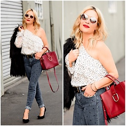 Zia Domic - 1. State One Shoulder Top, Cece Dotted Denim, Radley London Red Satchel - Dots & Spots