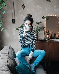 Frankie Miles - H&M Earrings, H&M Striped Shirt, Lee Jeans, Y 3 Belt - Cozy
