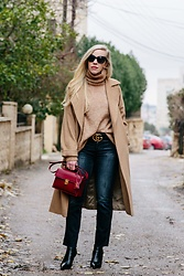 Meagan Brandon - Max Mara Coat, Turtleneck (On Sale!), Gucci Belt, 7fam Denim, Sock Boots - Classic Camel Coat