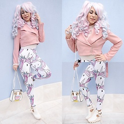 Marina Mavromati - Zaful Pink Suede Biker Jacket, Shop Mermaid Rock Unicorn Leggings - -Unicorn Magic-