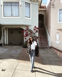 Tiffany Wang - Citizens Of Humanity Jeans, Vans Sneakers, Aritzia Shirt, Aritzia Puffer Jacket - SF LIVING