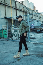 Adrian Gamboa - 47 Hat, H&M Bomber Jacket, Pacsun Jeans, Nike Boots - @agnotforsale
