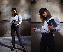 Sirma Markova - Isabel Marant X H&M Hat, H&M White Shirt, Mango Gray Ribbed Blouse, Madoc Vitage Jeans, Parfois Bag, Daniel Wellington Watch, Zara Booties - White Shirt Situation
