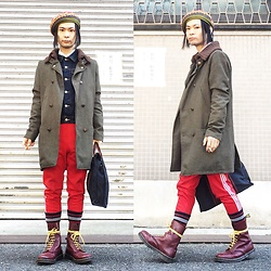 @KiD - Override Rasta Beret, Insight Military Coat, Muji Denim Jacket, Adidas Red Jersey, Dr. Martens Cherry Red 10 Hole, Hermès Bag - JapaneseTrash301