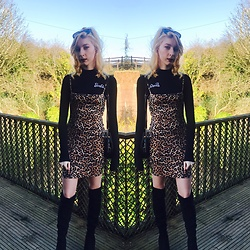 Coral Baker - Missguided Two Piece Dress, New Look Over The Knee Boots, Primark Mickey Mouse Bag - Leopard Loving