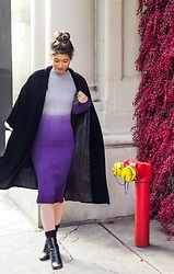 Ohn MintyFresh - Popjulia Ombre Knit Dress, Vintage Velvet Coat, Allsaints Booties - Ombre Knit Dress