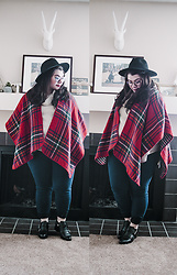 Katie - Modcloth Plaid Poncho, Cowl Neck Sweater - IT'S STILL WINTER