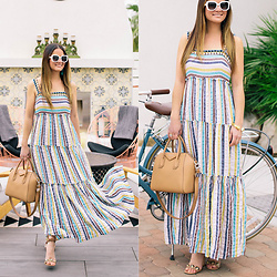Jenn Lake - Anthropologie Stripe Tiered Maxi Dress, Givenchy Small Antigona Bag, Mercedes Castillo Lyris Sandals, Kate Spade Krystalyn Sunglasses, Julie Vos Byzantine Cuffs - Anthropologie Stripe Tiered Maxi Dress