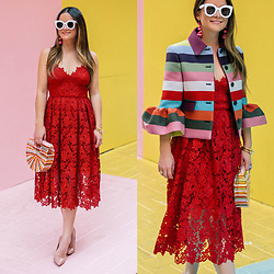 Jenn Lake - Donna Morgan Red Lace Midi Dress, Mary Katrantzou Striped Cuckoo Jacket, Cult Gaia Multicolor Ark Bag, Steve Madden Daisie Pumps, Celine White Sunglasses, Baublebar Crispin Drop Earrings - Donna Morgan Red Lace Midi Dress