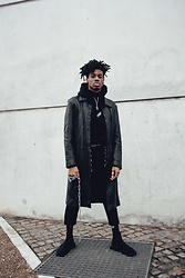 Sebjin - Zara Leather Long Coat, Gvlvxy Neoprene Hoodie, Adidas Socks, Balenciaga Trainer Speed - Reckless