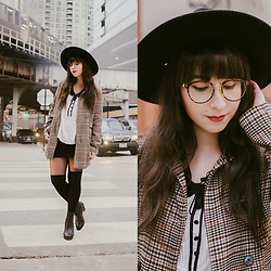 Camila C - Brixton Hat, Tijne Maiike Frames, Trifted Plaid Coat - Dim the Light