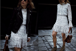 Jillian Lansky - Ever New Floral Dress, Jw Anderson Pierce Bag, Isabel Marant Dicker Boots, Ever New Leather Jacket - PARISIAN CHIC
