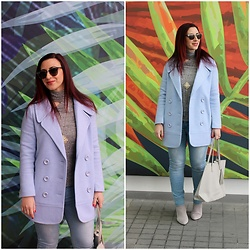 Rebel Takipte - Vipshop Blue Coat, Ami Club Wear Boots - Baby Blue