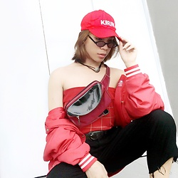 JUN UDAN - Kye Kirin Cap, Thrifted Checked Top, Korea Red Bombers, Thrifted Penny Pack, Bdg Belts, Thrifted 90'S Shades, Thrifted And Diy Black Pantsuit, Forever 21 Eying Chocker - RED EXPLOSION