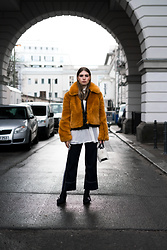 Swantje Sömmer | OffwhiteSwan - All Items On The Blog, Longchamp Bag - Faux Fur Jacket & Sportmax Culotte