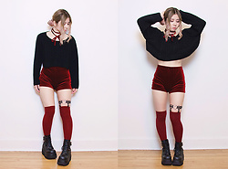 Lovely Blasphemy - Chic Me Red Velvet Shorts, American Apparel Burgundy Thigh High Socks, Unif Black Cropped Sweater, Demonia Black Platform Boots, Creepyyeha Black Heart Garter - Years of love have been forgot, in the hatred of a minute