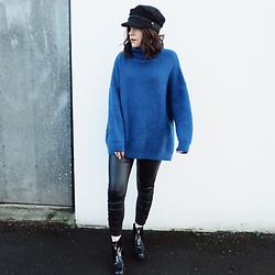 Natasha Hide - Zara Oversized Blue Sweater, Asos Baker Boy Cap, Stradivarius Leather Look Jeans - Feeling Blue!💙