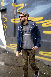 Hector Diaz - Penfield Raincoat (Similar), Abercrombie & Fitch Sweater (Similar), J. Crew Denim Shirt, Sperry Topsider Cutwater Chukka Boots, Ollie Quinn Ruby Red Sunnies - My OQ Story x Ollie Quinn