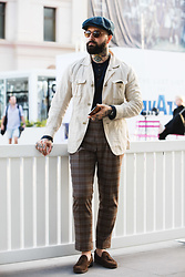 Jared Acquaro - Hillz Hats Baker Boy Hat, Uniqlo Cotton Shacket, Hugo Boss Henley, Oscar Hunt Tailors Checked Pants, Sutor Mantellassi Suede Loafers - Modern Workwear Mix