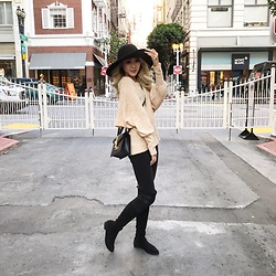 Petite Decadent - Lip Service Round Hat, Lip Service Paisley Pattern Sweater, Gucci Slyvie Mini Bag, Stuart Weitzman Lowland Boots, Lip Service Angular Dangle Earrings - Out in SF
