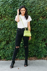 Shann V - Ropa Essentials Tee, Rosaire Capucine, Neuw Denim Marilyn, Boohoo Lace Back - Lime Green Bag & Forest Green Wall
