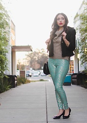Angie Washington - New York &Company Black And Gold Blazer, New York & Co. Gold Knit Sweater, Hue Teal And Blue Leggings, Anne Klein Kitten Heel Pumps - Blue and Gold Paisley Dream