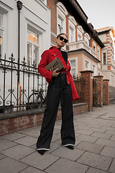 Swantje Sömmer | OffwhiteSwan - Gucci Bag, All Items On The Blog - Red Denim Jacket, High Waist Jeans & Gucci Dionysus