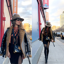Ohn MintyFresh - Rag & Bone Fedora, Allsaints Jacket, Prada Bag, Nakedwardrobe Mini Dress, Schutz Booties - Rock N' Roll NYFW - Day 1