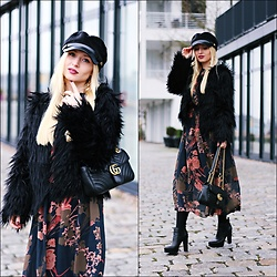 Justyna B. - Gucci Bag, Guess Shoes - Fake Fur & Maxi Dress