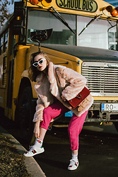 Andreea Birsan - Pink Cropped Trousers, Red Suede Shoulder Bag, Pink Faux Fur Aviator Jacket, White Cat Eye Sunglasses, Socks, White Gucci Ace Heart Sneakers - School is closed