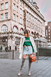 Stephanie Van Klev - Oui Coat, Sandro Pullover, Gucci Belt, H&M Jeans Skirt, Stuart Weitzman Over The Knee Boots, & Other Stories Bag, & Other Stories Lace Blouse - Fashion Statements