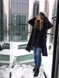 Liva Bambale - Asos Black Boots, H&M Blue Jeans, H&M Wool Sweater, H&M Grey Long Coat, Missguided Boy Hat - Aesthetics