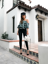 Jessi Malay - Marissa Webb Leona Plaid Top, Lpa Leather Legging, Lack Of Color Riveria Newsboy Cap, Saint Laurent Monogram College Bag - New In: Plaid + Leather